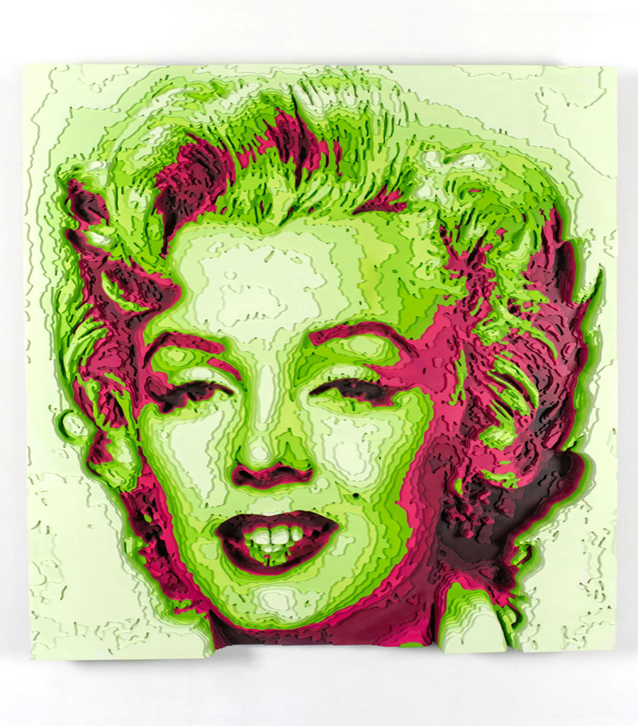 Marilyn colored plywood art