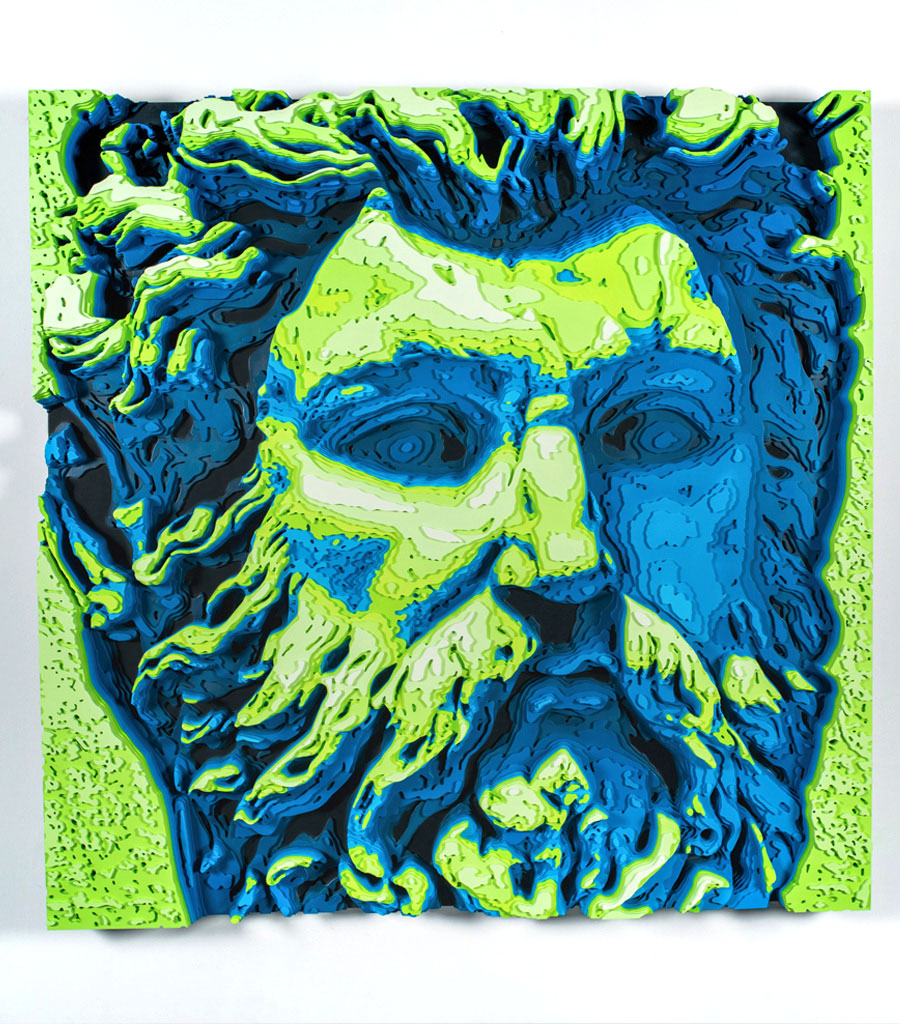 Neptune colored plywood art
